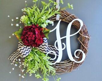 Burgundy Hydrangea Wreath. Burlap Wreath. Year Round Wreath. Spring Wreath. Summer Wreath. Monogram Wreath. Door Wreath