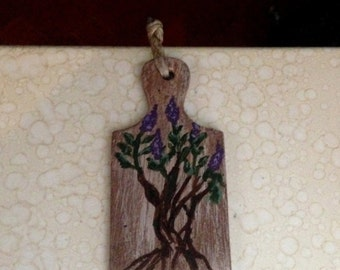 Cutting board Miniature wooden floral painting, accessory Decoration kitchen Dollhouse scale 1/12