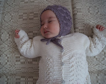 Knitted baby hat, baby bonnet, baby shower gift, baptism hat, lilac hat, spring hat, merino wool, silk hat for baby / toddler.