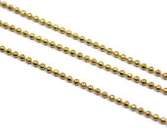 33 feet 1 mm Raw Brass Faceted Ball Chain - Beaded Chain - Bulk Chain - Brass Ball Chain - 10 Meters