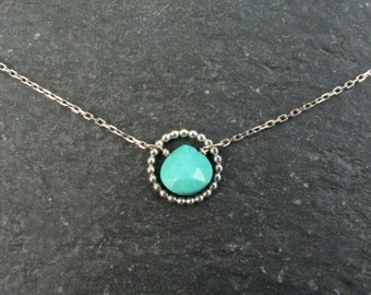 Dainty Turquoise Necklace with  Sterling Silver Circle Link - Natural Arizona Turquoise Short Layer Necklace - Gift for Her