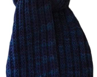 Hand Knit Scarf - Stardust Blues Cashmere Trail Rib