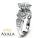 Special Reserved for B. - Cushion Cut Semi-mount 14K White Gold Ring