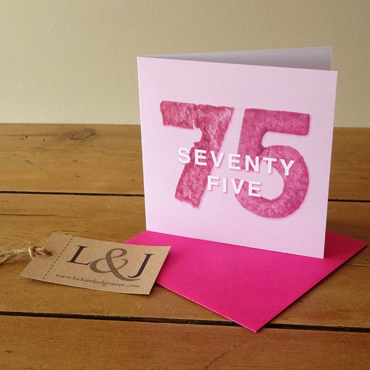 75th birthday card seventy five birthday gift milestone – 75th Birthday Card