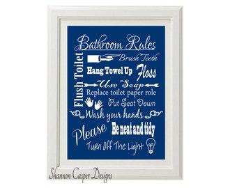 Bathroom Decor printable, Instant Digital Download, Navy and White Art, Bathroom Rules