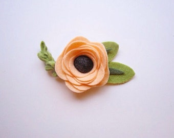 Peach Rifle Paper Co. Inspired Felt Flower Headband or Hair Clip