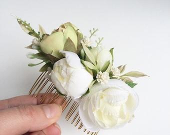 Ivory silk floral bridal comb- flower comb- rustic wedding headpiece- bridal comb