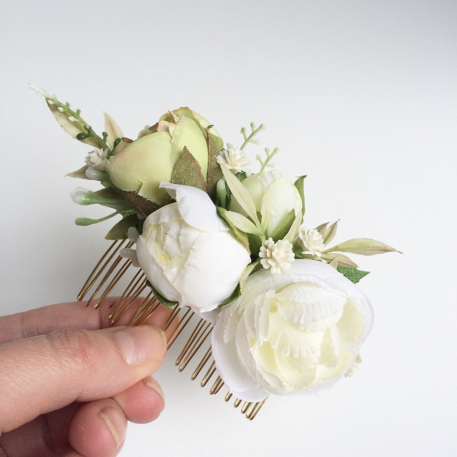 Floral Wedding Hair Comb By Britten: Ivory Silk Floral Bridal Comb Flower Comb By