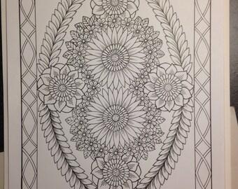 Botanical Flowers Ornamental 8 Hand Drawn Original Art Decorative Design Digital