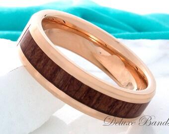 Tungsten Wood Wedding Band,Rose Gold Tungsten Ring,Wood Tungsten Ring,Tungsten Wedding Ring,Mens Tungsten Band,7mm,Wood Anniversary Ring