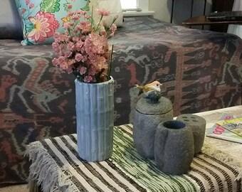 Vintage Grey Cobalt Distress Tubular Ceramic Faux Bamboo Table Vase, Zen, Centerpiece, Beach, Nautical, MCM, Vtg.