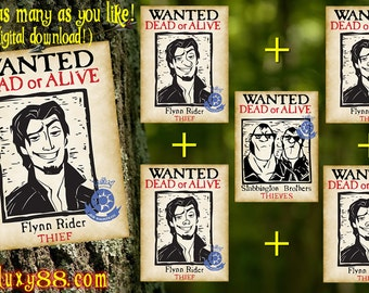 Tangled Flyers (6) - Flynn Rider & Stabbington Brothers Wanted Flyers Digital download