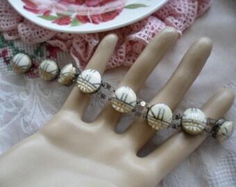Antique vintage Egyptian scarab beetle silver bracelet old foreign WW II wartime sweetheart war time souvenir