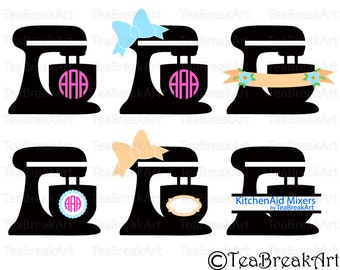 KitchenAid Stand Mixer Monogram cutting files and clipart SVG PNG EPS heat transfer Digital Graphics template iron on shirt decal apron 519C