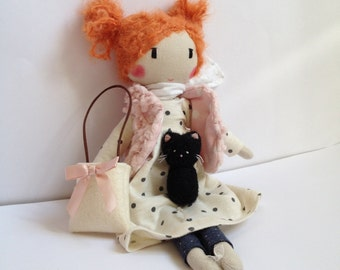 Handmade Cloth doll, Rag doll, Ballerina doll - FRANCISKA - Unique doll to be dressed with bag and felted kitten