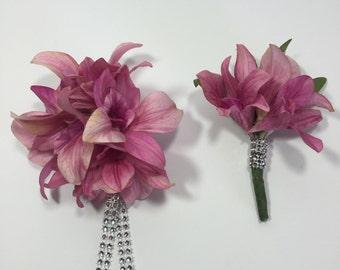 Pink Wild Cymbidium Orchid Corsage And Boutonniere Set