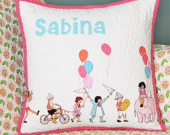 Personalized Quilted Pillow, Girl Pillow, Baby Pillow, Quilted Pillow, Pillow Cover, Name Pillow, Crib Pillow