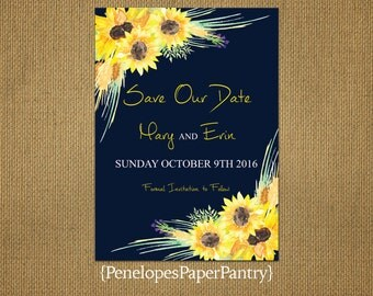 Rustic Fall Theme Save The Date Card,Sunflowers,Navy Blue,Cursive Text,Elegant,Romantic,Simple,Customizable With White Envelopes