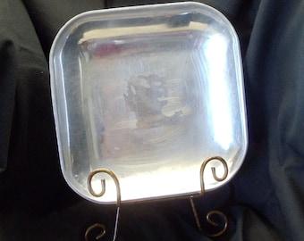 Vintage Square Pewter Holloware Serving Dish,Vintage Houseware,#VH3009