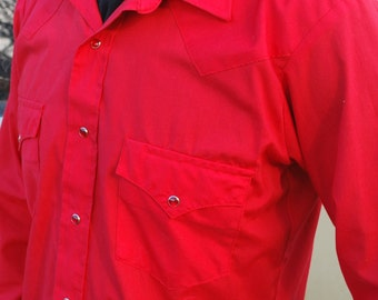 Vintage Red Western Shirt with Red Snaps Size large