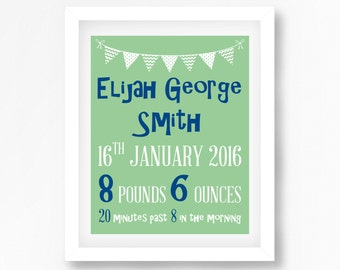 Personalised Baby Print, Baby Boy Birth Print, Mint and Navy Nursery Art, Baby Name Print, Baby Boy Gift, Baptism Gift, Baby Boy Nursery Art