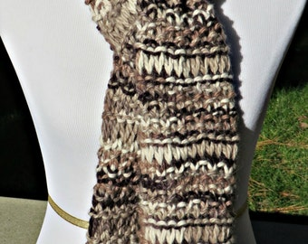 Brown Hand knit Scarf - Winter Scarf Hand Knitted by Me - Cappuccino Scarf 100% Alpaca Scarf Womens Mens Scarf Luxurious Buttery Soft Scarf