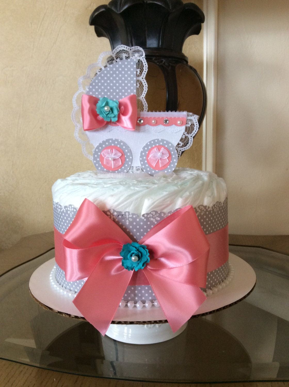 Girl diaper cake shabby chic mini