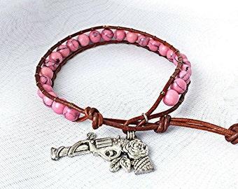 leather wrap bracelet, beaded wrap bracelet, leather bracelet, gemstone leather wrap bracelet, western bracelet, turquoise wrap bracelet