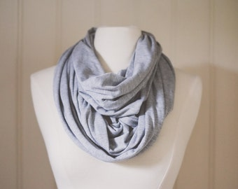 Heather Gray Infinity Scarf | Jersey Knit | Double Wrap | Handmade | Circle Scarf | Summer Scarf | Lightweight | Soft