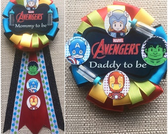 avengers inspired baby shower corsage
