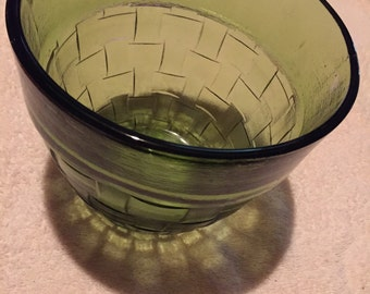 glass ice bucket, green, anchor hocking, weave pattern, vintage, mid century, decorative