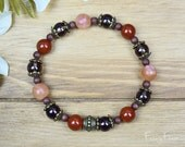 Sunstone Crystal Bracelet with Smoky Quartz and Red Jasper for Energy, Confidence & Positive Thinking   Mala Boho Yoga Healing Jewellery
