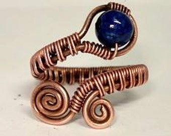 Lapis Lazuli Dyes Howlite Wire Weave Ring