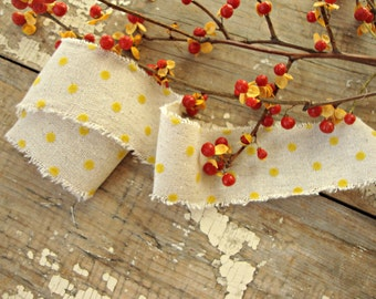 Cotton Linen Natural Ribbon with Soft Yellow Velvet Dots