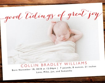 Holiday Photo Card Birth Announcement, Christmas Birth Announcement // Good Tidings of Great Joy - Cursive