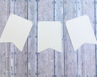 Set of 12 Blank Kraft Banner Two-Point Pennants • Make Your Own Party Banner • DIY Bunting Flags • Cardstock Banner Flags • DIY Blank Kraft