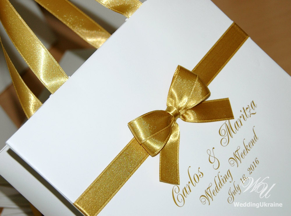 Wedding Favor Bags And Ribbons : Wedding Welcome Bags with satin ribbon bow and names White
