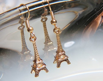 Eiffel Tower Earrings Eiffel Tower charm gold earrings