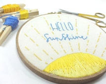 Hello Sunshine, Embroidery Hoop Art, Needlepoint, Cotton Home Decor, Fabric Wall Hanging, Nursery Wall Art, Baby Shower Gift, Gift Under 50