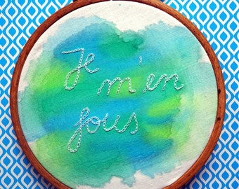 """Embroidery picture wall decoration """"Je M' en FOUS"""" (I don't care) stereo total"""
