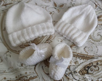 Baby Beanie and Boootie Sets. Newborn to 6 months. Pick a Color. Made in USA. 100% Acrylic Yarn