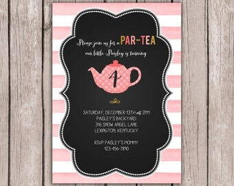 PRINTABLE- Tea Party Invite- Girl Birthday Party Invite- Birthday Party Invite- Birthday Party Invitation- 5x7 JPG