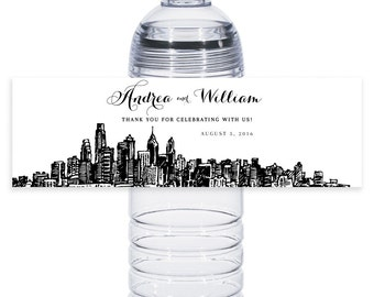 City Skyline Water Bottle Label | Philadelphia City | Weddings | Print on Your Own