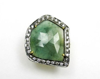 20% VALENTINES SALE Natural Emerald CZ Ring - Natural Emerald Ring - Rose Cut Emerald Ring - Emerald Slice Ring Handmade Jewelry