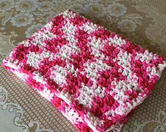 """Crochet Baby Lap Blanket Warm Blanket Pink and White Baby Blanket Cuddley Lap Blanket 30"""" By 36"""" Ready To Ship"""