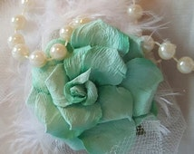 Wedding Aisle Chair Sash Church Pew Reception Napkin Place Setting Brooch Favor Decor Floral Bridal Pearls! Great Gatsby Theme!