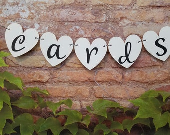 Small Heart Cards Banner, Petite Wedding Heart Shaped Cards Sign, Wedding Decor, Cards Sign, Heart Cards Sign, Heart Cards Banner