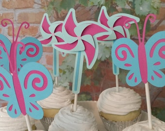 Pinwheel, Butterfly Cupcake Toppers, Birthday Cupcake Toppers, Birthday Butterfly and Pinwheel Cupcake Toppers, Girl Birthday Party Decor
