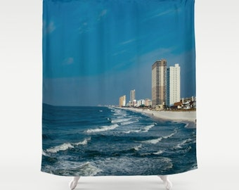 Items Similar To Bird Of Paradise Shower Curtain Beach Surf Style Floral Decor White