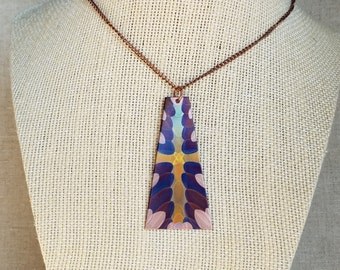 Flame painted copper pendant